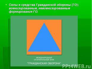 Силы и средства Гражданской обороны (ГО); военизированные, невоенизированные фор