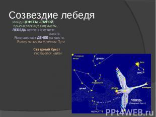 Созвездие лебедяМежду ЦЕФЕЕМ и ЛИРОЙ, Крылья раскинув над миром, ЛЕБЕДЬ неспешно