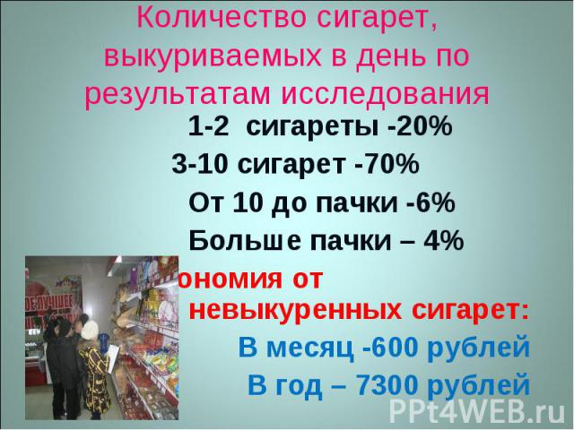 Количество сигарет, выкуриваемых в день по результатам исследования 1-2 сигареты -20% 3-10 сигарет -70% От 10 до пачки -6% Больше пачки – 4% Экономия от невыкуренных сигарет: В месяц -600 рублей В год – 7300 рублей