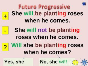 Future ProgressiveShe will be planting roses when he comes.She will not be plant