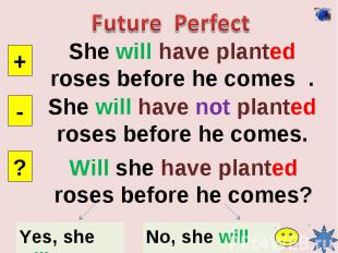 Future PerfectShe will have planted roses before he comes .She will have not pla