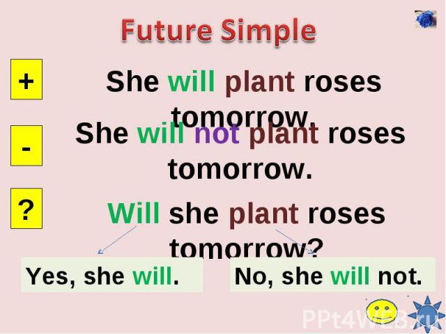 Future SimpleShe will plant roses tomorrow.She will not plant roses tomorrow.Will she plant roses tomorrow?