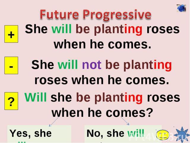 Future ProgressiveShe will be planting roses when he comes.She will not be planting roses when he comes.Will she be planting roses when he comes?