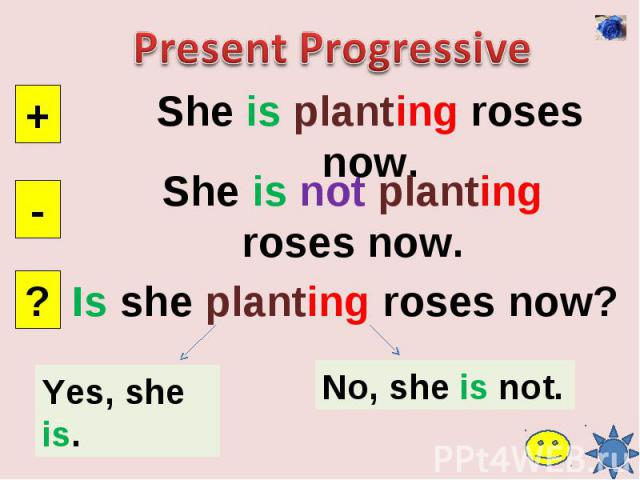 Present ProgressiveShe is planting roses now.She is not planting roses now.Is she planting roses now?