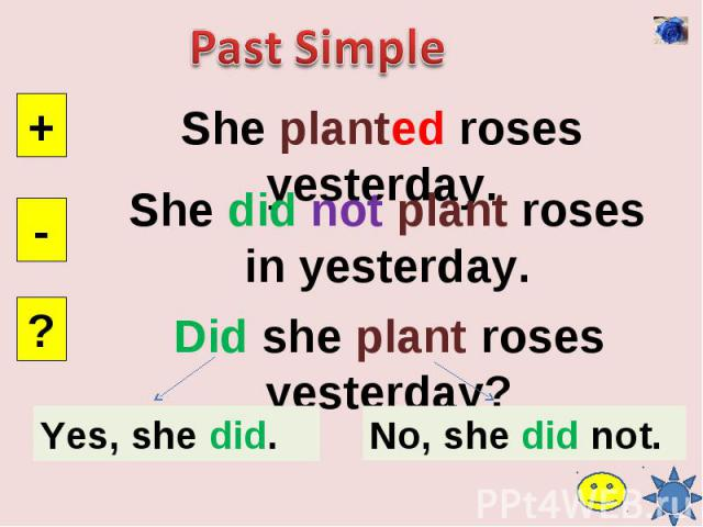 Past SimpleShe planted roses yesterday.She did not plant roses in yesterday.Did she plant roses yesterday?