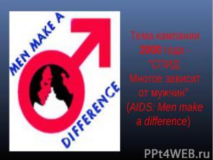 """Тема кампании 2000 года - """"СПИД:Многое зависит от мужчин"""" (AIDS: Men make a diff"""