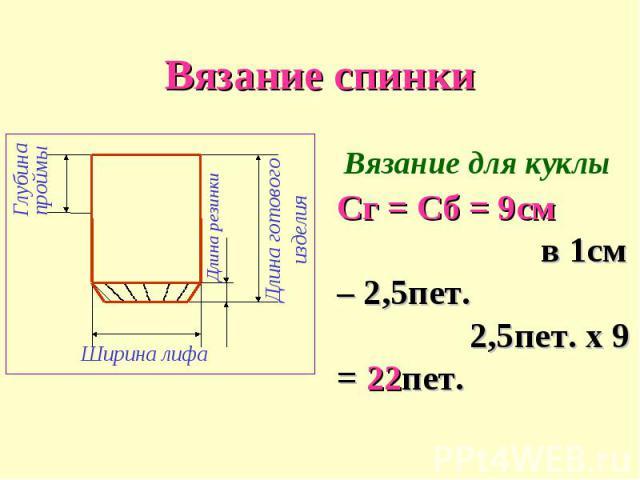 Вязание спинкиСг = Сб = 9см в 1см – 2,5пет. 2,5пет. х 9 = 22пет.
