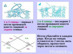 1 и 3 спицы – первые 2 петли провяжите вместе лицевой за задние стенки.2 и 4 спи