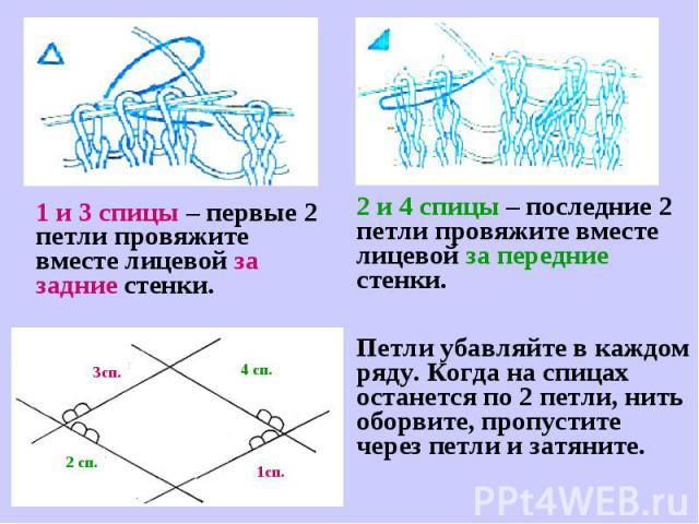 1 и 3 спицы – первые 2 петли провяжите вместе лицевой за задние стенки.2 и 4 спицы – последние 2 петли провяжите вместе лицевой за передние стенки.Петли убавляйте в каждом ряду. Когда на спицах останется по 2 петли, нить оборвите, пропустите через п…