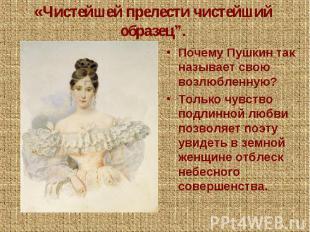 """«Чистейшей прелести чистейший образец"""".Почему Пушкин так называет свою возлюблен"""