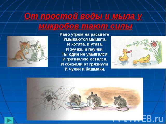 От простой воды и мыла у микробов тают силы Рано утром на рассвете Умываются мышата,И котята, и утята,И жучки, и паучки.Ты один не умывался И грязнулею остался,И сбежали от грязнули И чулки и башмаки.