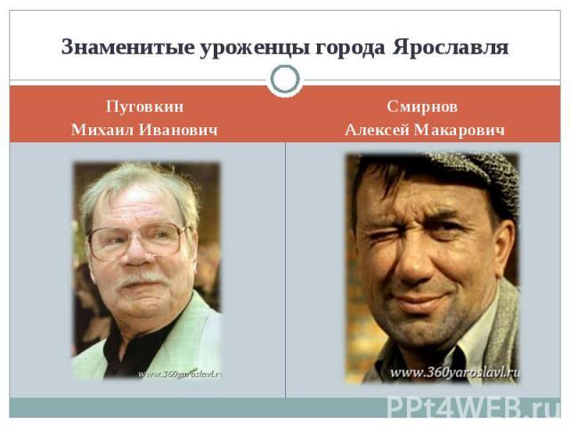Знаменитые уроженцы города ЯрославляПуговкинМихаил ИвановичСмирнов Алексей Макарович