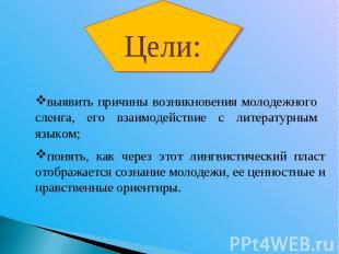 Цели:выявить причины возникновения молодежного сленга, его взаимодействие с лите