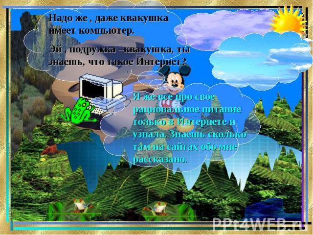 Надо же , даже квакушка имеет компьютер.Эй , подружка –квакушка, ты знаешь, что такое Интернет?Я же все про свое рациональное питание только в Интернете и узнала. Знаешь сколько там на сайтах обо мне рассказано.