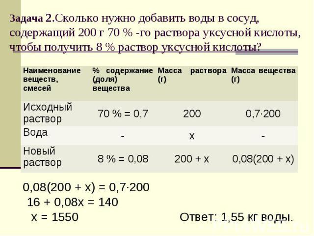 Задача 2.Сколько нужно добавить воды в сосуд, содержащий 200 г 70 % -го раствора уксусной кислоты, чтобы получить 8 % раствор уксусной кислоты?
