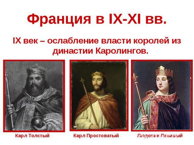 Франция в IX-XI вв.IX век – ослабление власти королей из династии Каролингов.Карл ТолстыйКарл ПростоватыйЛюдовик Ленивый