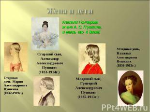 Жена и дети Натали Гончарова жена А. С. Пушкина.и мать его 4 детейСтарший сын, А