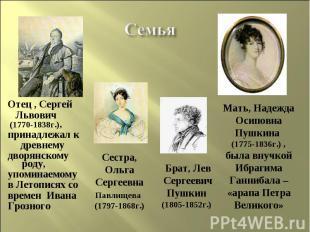Семья Отец , Сергей Львович (1770-1838г.),принадлежал к древнемудворянскому роду