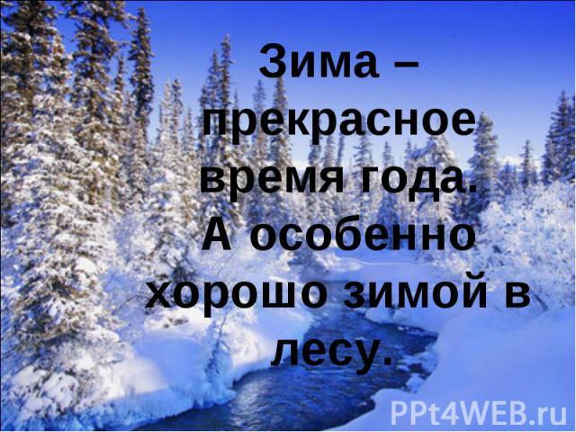 Зима – прекрасное время года.А особенно хорошо зимой в лесу.
