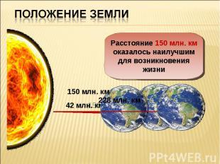 Положение ЗемлиРасстояние 150 млн. км оказалось наилучшим для возникновения жизн