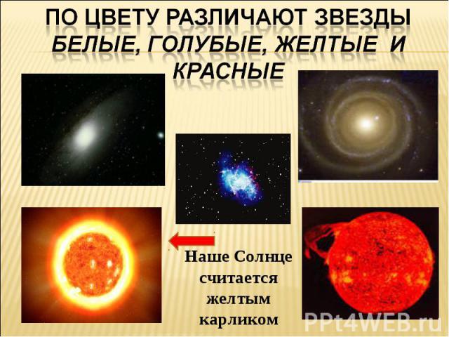 По цвету различают звезды белые, голубые, желтые и красныеНаше Солнце считается желтым карликом