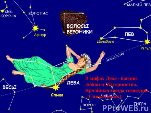 В мифах Дева - богиня любви и Материнства.Ярчайшая звезда созвездия – Спика (колос).