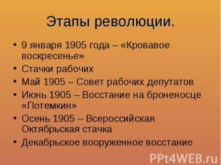 Этапы революции.9 января 1905 года – «Кровавое воскресенье»Стачки рабочихМай 190