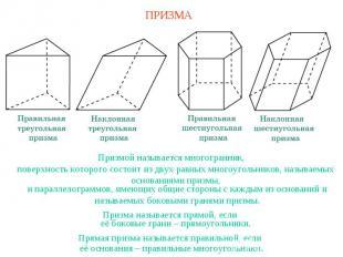 ПРИЗМАПризмой называется многогранник,поверхность которого состоит из двух равны