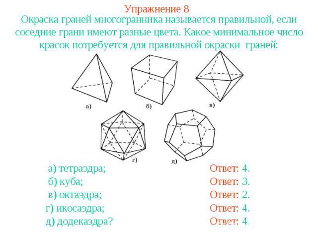 Упражнение 8Окраска граней многогранника называется правильной, если соседние грани имеют разные цвета. Какое минимальное число красок потребуется для правильной окраски граней: