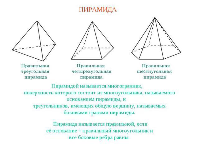 ПИРАМИДАПирамидой называется многогранник,поверхность которого состоит из многоугольника, называемогооснованием пирамиды, итреугольников, имеющих общую вершину, называемыхбоковыми гранями пирамиды.Пирамида называется правильной, еслиеё основание – п…