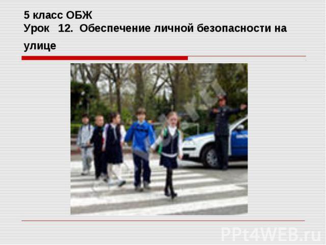 5 класс ОБЖУрок 12. Обеспечение личной безопасности на улице