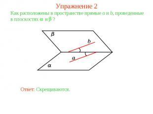 Упражнение 2Как расположены в пространстве прямые a и b, проведенные в плоскостя