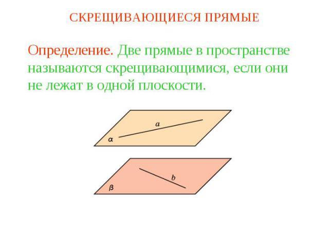 СКРЕЩИВАЮЩИЕСЯ ПРЯМЫЕОпределение. Две прямые в пространстве называются скрещивающимися, если они не лежат в одной плоскости.