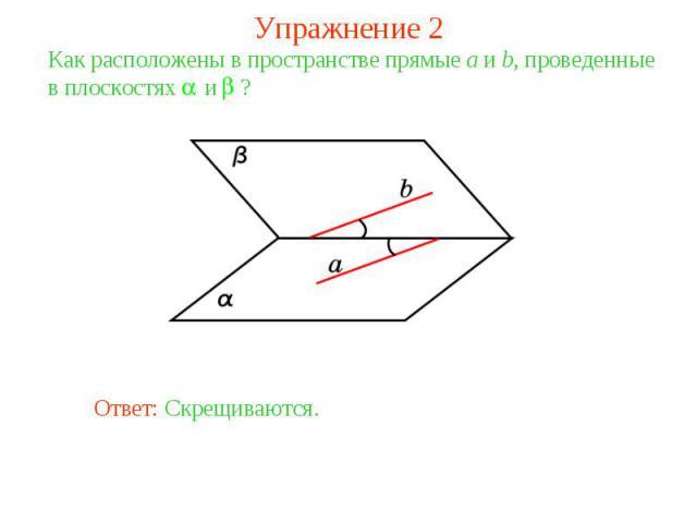 Упражнение 2Как расположены в пространстве прямые a и b, проведенные в плоскостях и ?