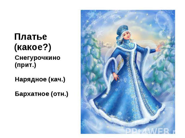 Платье (какое?)Снегурочкино (прит.)Нарядное (кач.)Бархатное (отн.)