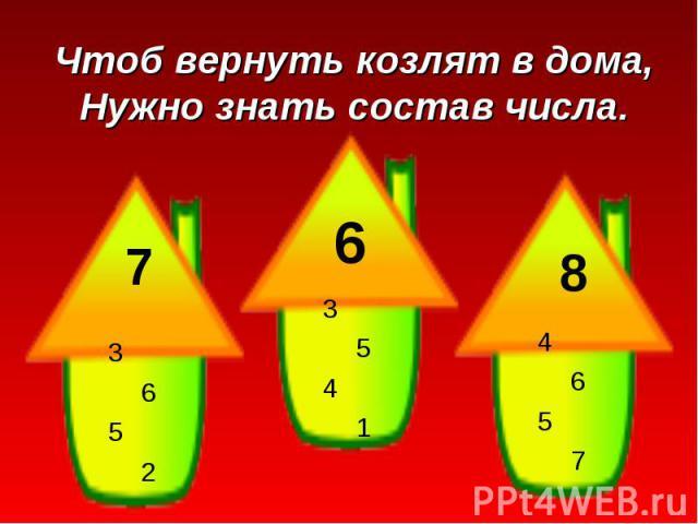 Чтоб вернуть козлят в дома,Нужно знать состав числа.