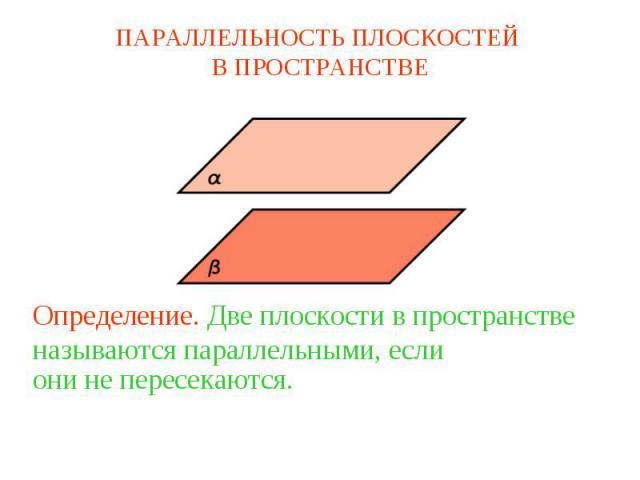 ПАРАЛЛЕЛЬНОСТЬ ПЛОСКОСТЕЙ В ПРОСТРАНСТВЕОпределение. Две плоскости в пространстве называются параллельными, если