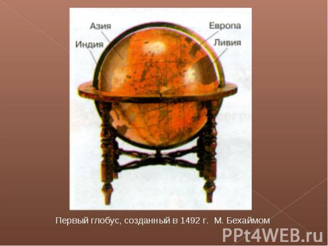 Первый глобус, созданный в 1492 г. М. Бехаймом
