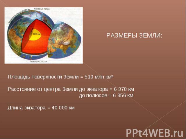 РАЗМЕРЫ ЗЕМЛИ:Площадь поверхности Земли = 510 млн км²Расстояние от центра Земли до экватора = 6 378 км до полюсов = 6 356 кмДлина экватора = 40 000 км