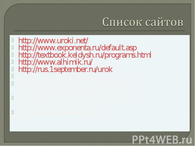 Список сайтовhttp://www.uroki.net/http://www.exponenta.ru/default.asphttp://textbook.keldysh.ru/programs.htmlhttp://www.alhimik.ru/http://rus.1september.ru/urok/http://metodsovet.su/http://nachalka.edu.ru/catalog.asp?cat_ob_no=16188&pg=1http://www.c…