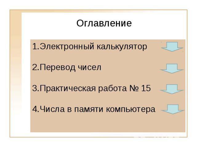 ОглавлениеЭлектронный калькуляторПеревод чиселПрактическая работа № 15Числа в памяти компьютера