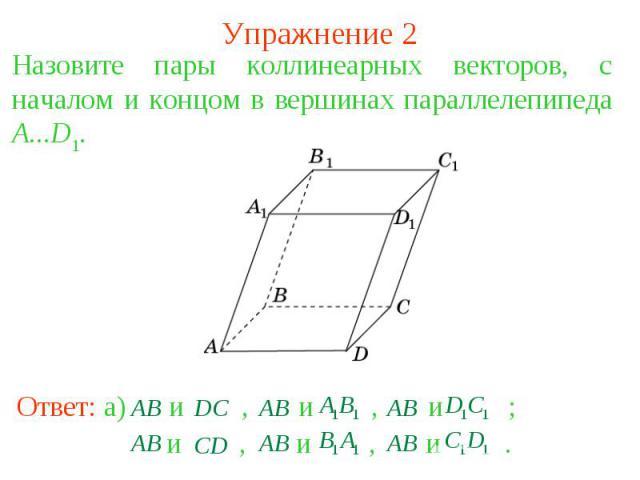 Упражнение 2Назовите пары коллинеарных векторов, с началом и концом в вершинах параллелепипеда A...D1.