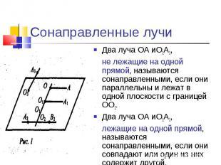 Сонаправленные лучиДва луча ОА иО1А1,не лежащие на одной прямой, называются сона