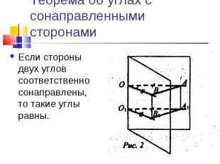 Теорема об углах с сонаправленными сторонамиЕсли стороны двух углов соответствен