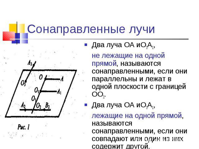 Сонаправленные лучиДва луча ОА иО1А1,не лежащие на одной прямой, называются сонаправленными, если они параллельны и лежат в одной плоскости с границей ОО1.Два луча ОА иО1А1,лежащие на одной прямой, называются сонаправленными, если они совпадают или …