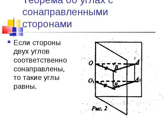 Теорема об углах с сонаправленными сторонамиЕсли стороны двух углов соответственно сонаправлены, то такие углы равны.