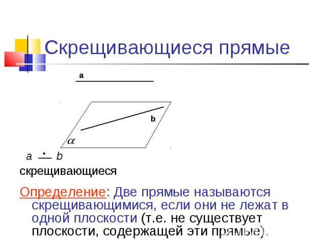 Скрещивающиеся прямые скрещивающиесяОпределение: Две прямые называются скрещивающимися, если они не лежат в одной плоскости (т.е. не существует плоскости, содержащей эти прямые).