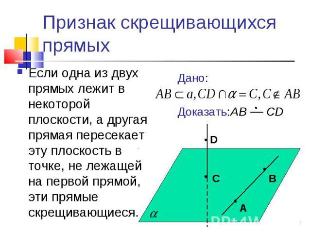 Признак скрещивающихся прямыхЕсли одна из двух прямых лежит в некоторой плоскости, а другая прямая пересекает эту плоскость в точке, не лежащей на первой прямой, эти прямые скрещивающиеся.