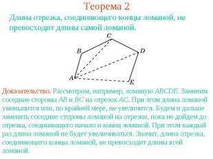 Теорема 2Длина отрезка, соединяющего концы ломаной, не превосходит длины самой л