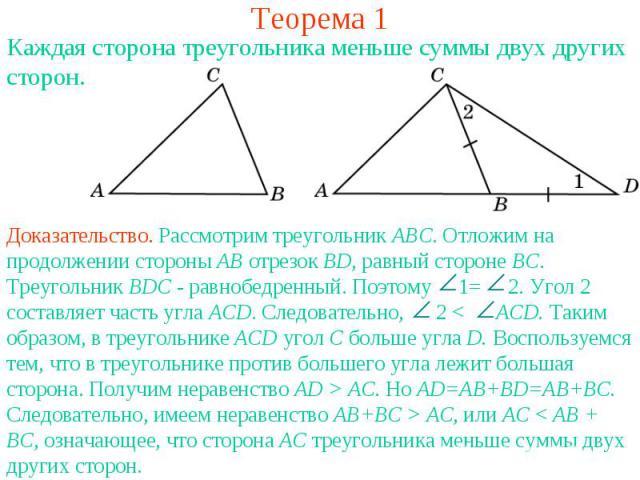 Теорема 1Каждая сторона треугольника меньше суммы двух других сторон.Доказательство. Рассмотрим треугольник АВС. Отложим на продолжении стороны АВ отрезок ВD, равный стороне ВС. Треугольник ВDC - равнобедренный. Поэтому 1= 2. Угол 2 составляет часть…